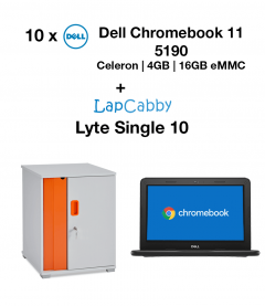 10x Dell Chromebook 5190 Celeron | 4GB | 16GB eMMC + Lyte Single 10 Trolley Bundle