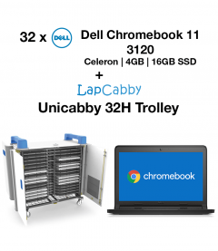 32x Dell Chromebook 11 3120 Celeron | 4GB | 16GB SSD + Unicabby 32H Trolley Bundle