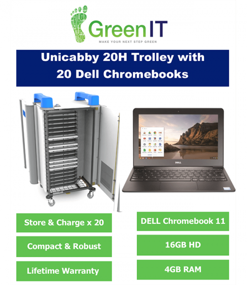 20 x Dell Chromebook and UniCabby 20H Trolley