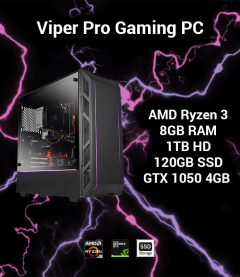 Viper Pro Gaming PC AMD Ryzen 3 | 8GB | 1TB HD/120GB SSD