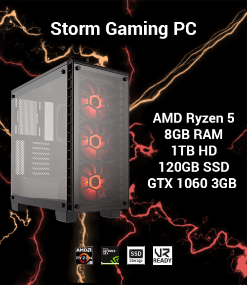 Storm Gaming PC Ryzen 5 | 8GB | 1TB HD/120GB SSD