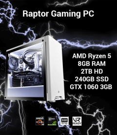 Raptor Gaming PC AMD Ryzen 5 | 8GB | 2TB HD/240GB SSD