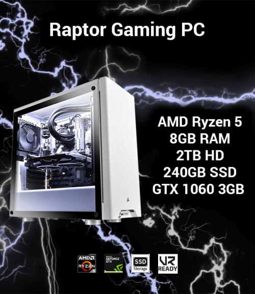 Raptor Gaming PC AMD Ryzen 5 | 8GB | 2TB HD/240GB SSD