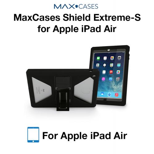 Max Shield Xtreme-S Case for iPad Air - Sleek Version (Black) with Kickstand