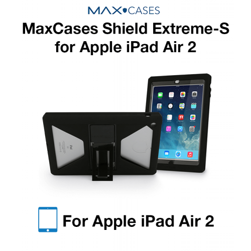 MaxCases Shield Extreme-S Case for iPad Air 2 - Sleek Version (Black) with Kickstand