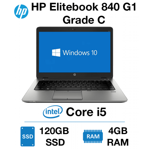 HP Elitebook 840 G1 Core i5   4GB   120GB SSD Grade C