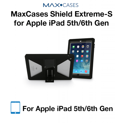 MaxCases Shield Extreme-S Case for iPad 5th Gen/6th Gen - Sleek Version (Black) with Kickstand