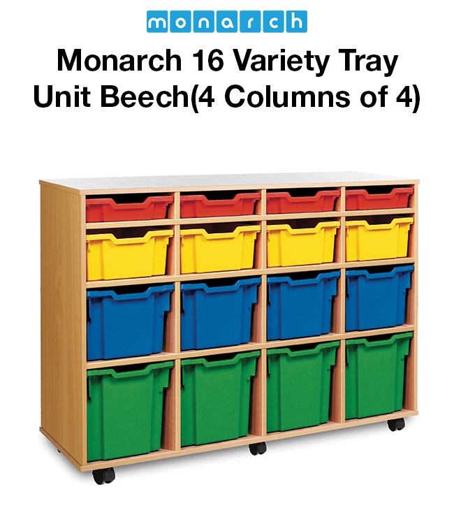 Monarch 12 Variety Tray Unit Beech (4 Columns of 4)