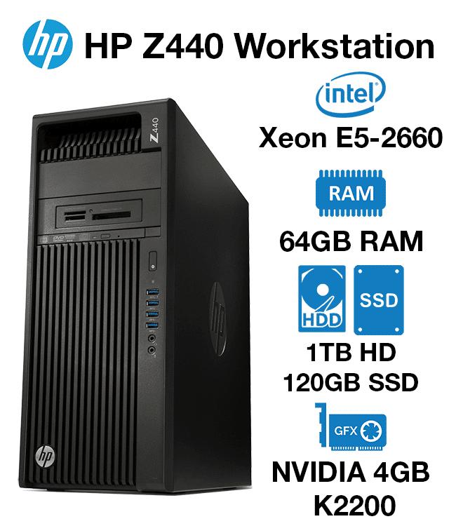 HP Z440 Workstation Xeon E5-2660 | 64GB RAM | 1TB HD/120GB SSD | nVidia 4GB  K2200 Graphics