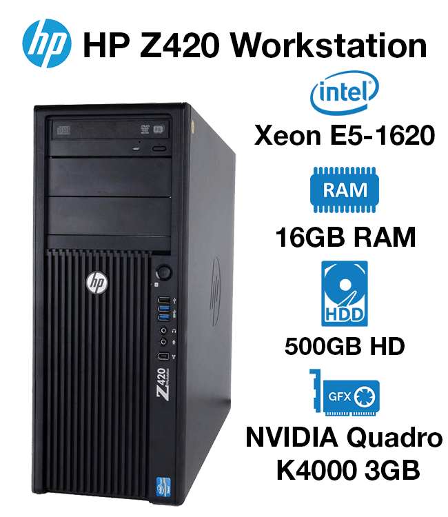 HP Z420 Workstation Xeon E5-1620 | 16GB RAM | 500GB HD | NVIDIA Quadro  K4000 3GB Graphics