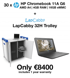 20 x HP Chromebook 11A G6 AMD A4 | 4GB | 16GB eMMC(New) + LapCabby 32H Trolley (School Offer)