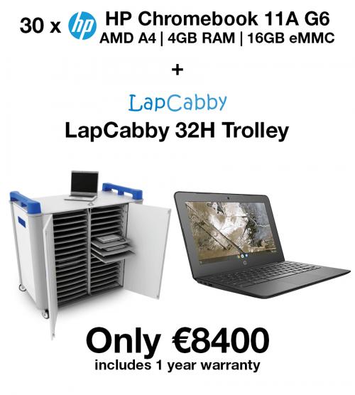 20 x HP Chromebook 11A G6 AMD A4 | 4GB | 16GB eMMC(New) + LapCabby 32H Trolley (School Offer)