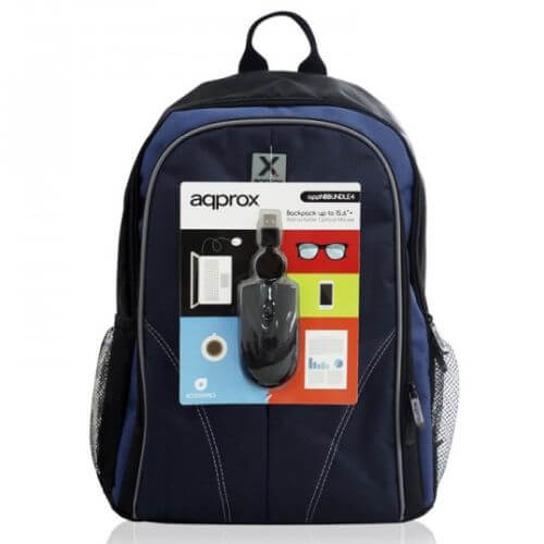 "Approx Laptop Backpack & USB Optical Mouse Bundle(Up to 15.6"")"