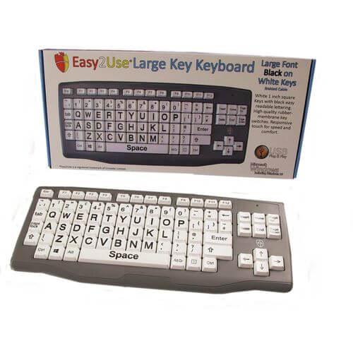 Easy2Use Large Key Black on White High Contrast Keyboard