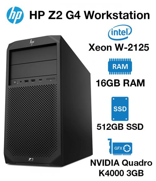 HP Z2 G4 Workstation Xeon W-2125 | 16GB RAM | 512GB SSD | nVidia Quadro K4000 3GB Graphics