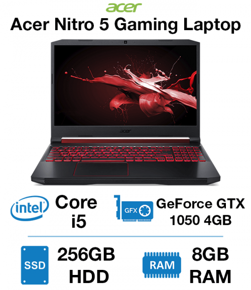 Acer Nitro 5 Gaming Laptop Core i5 | 8GB RAM | 256GB SSD | GeForce GTX 1050 4GB