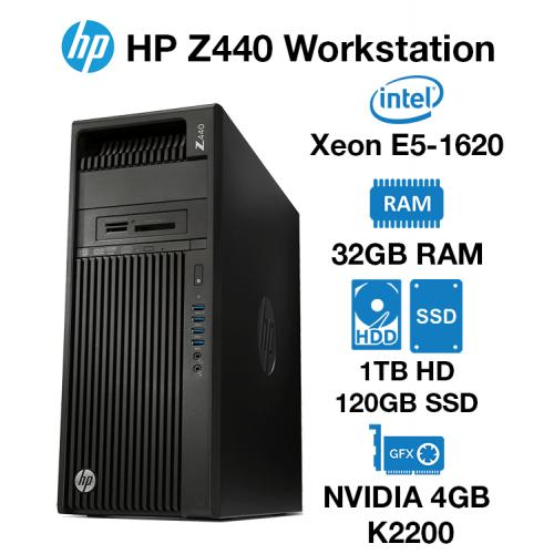 HP Z440 Workstation Xeon E5-1620   32GB RAM   1TB HD/120GB SSD   nVidia 4GB K2200 Graphics