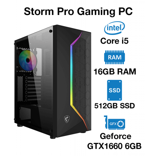 Storm Pro Gaming PC Core i5 | 16GB RAM | 512GB SSD | Geforce GTX 1660 6GB | Windows 10 Pro