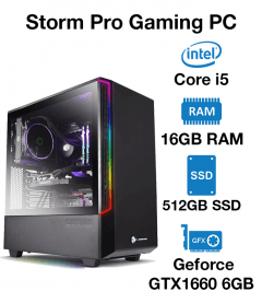 Storm Pro Gaming PC Core i5 | 16GB RAM | 512GB SSD | Geforce GTX 1660 6GB | Windows 10 Pro