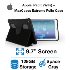 Apple iPad 5th Gen (WIFI) 128GB Space Gray+ MaxCases Extreme Folio Case
