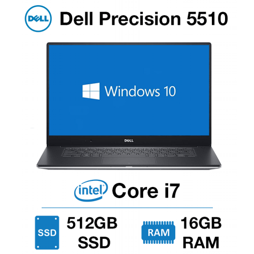 Dell Precision 5510 Workstation Core i7-6820HQ | 16GB RAM | 512GB SSD | NVIDIA Quadro M1000M 2GB | Windows 10 Pro