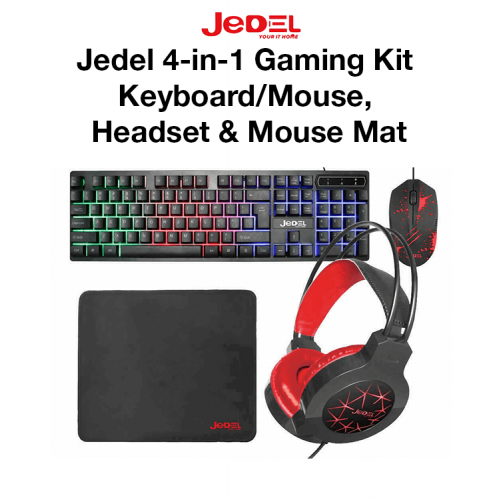 Jedel 4-in-1 Gaming Kit - Keyboard/Mouse, Headset & Mouse Mat