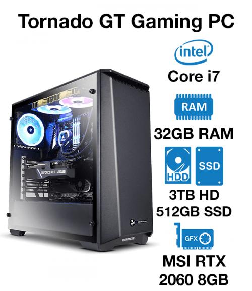 Tornado GT Gaming PC Core i7   32GB RAM   3TB HDD/512GB SSD   MSI RTX 2080 8GB   Windows 10 Pro