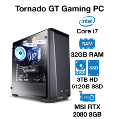 Tornado GT Gaming PC Core i7 | 32GB RAM | 3TB HDD/512GB SSD | MSI RTX 2080 8GB | Windows 10 Pro