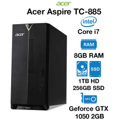 Acer TC-885 Gaming PC Core i7 | 8GB | 1TB HDD/256GB SSD | GTX 1050 2GB | Windows 10 Home (Open Box)