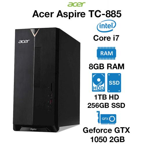Acer TC-885 Gaming PC Core i7 | 8GB | 1TB HDD/256GB SSD | GTX 1050 2GB | Windows 10 Home (Open Box)