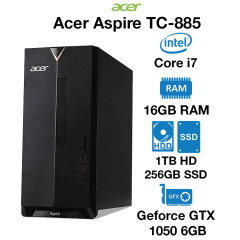 Acer Aspire TC-885 Gaming PC Core i7 | 8GB | 1TB HDD/256GB SSD | GTX 1050 2GB | Windows 10 Home (Open Box)