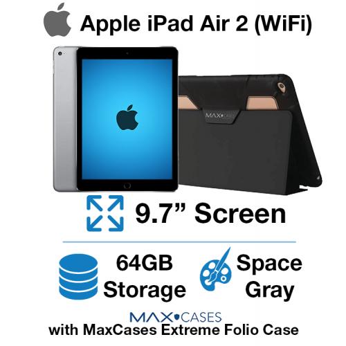 Apple iPad Air 2 (WIFI) 64GB Space Gray + Free MaxCases Extreme Folio Case