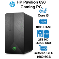HP Pavilion 690 Gaming PC Core i5 | 8GB | 2TB HDD/256GB SSD | GTX 1660 6GB | Windows 10 Home (Open Box)