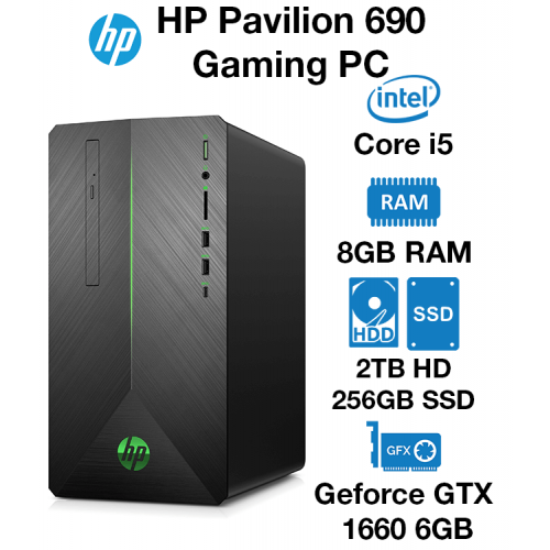 HP Pavilion 690 Gaming PC Core i5   8GB   2TB HDD/256GB SSD   GTX 1660 6GB   Windows 10 Home (Open Box)