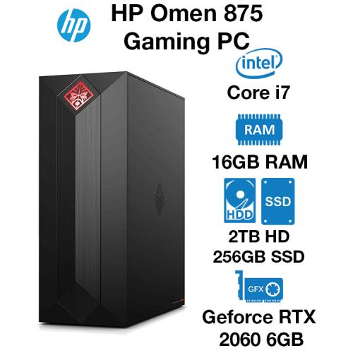 HP Omen 875 Gaming PC Core i7 | 16GB | 2TB HDD/256GB SSD | RTX 2060 6GB | Windows 10 Home (Open Box)