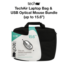 TechAir Laptop Bag & USB Optical Mouse Bundle (Up to 15. 6)
