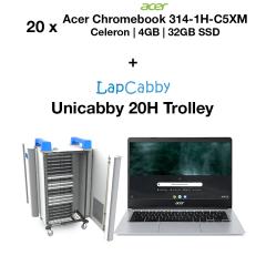20x Acer Chromebook 314-1H-C5XM Celeron | 4GB | 32GB eMMC(New) & UniCabby 20H