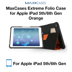MaxCases Extreme Folio Case for iPad 5th Gen/6th Gen Light Orange