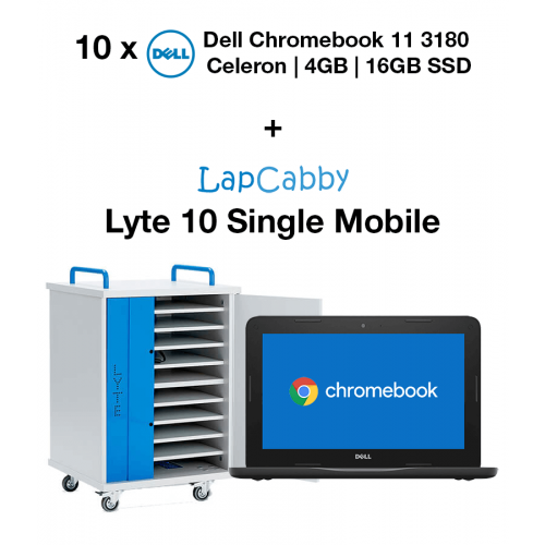 10x Dell Chromebook 11 3180 Celeron | 4GB | 16GB SSD & Lyte 10 Single Door Mobile