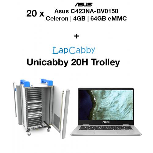 20x ASUS Chromebook C423NA-BV0158 Celeron   4GB   64GB eMMC (New) & UniCabby 20H