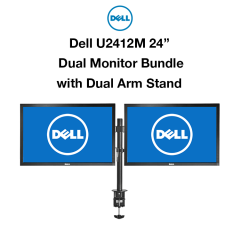 "2x Dell U2412M 24"" Monitor + Dual Arm Stand Bundle"