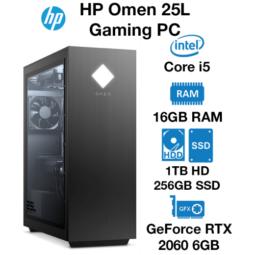 HP Omen 25L GT12-0045NA Core i5 | 16GB | 1TB HDD/256GB SSD | RTX 2060 6GB | Windows 10 Home (Open Box)