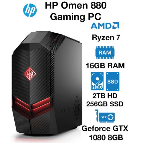 HP Omen 880 Gaming PC Ryzen 7   16GB   2TB HDD/256GB SSD   GTX 1080 8GB   Windows 10 Home (Open Box)