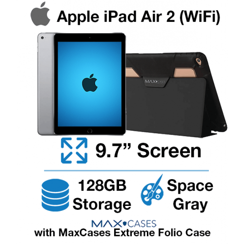 Apple iPad Air 2 (WIFI) 128GB Space Gray + Free MaxCases Extreme Folio Case