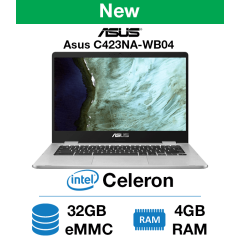 ASUS C423NA-WB04 Chromebook Celeron | 4GB RAM | 32GB eMMC | Webcam (New)