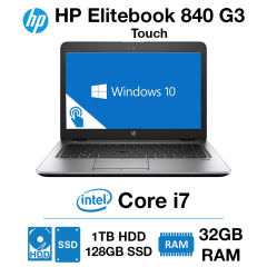 HP Elitebook 840 G3 Touch Core i7 | 32GB RAM | 1TB HDD/128GB SSD | Windows 10 Pro | Webcam (As New)
