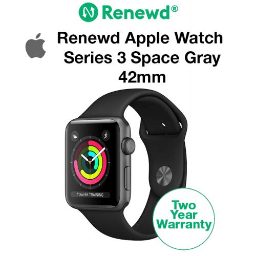 Renewd Apple Watch Series 3 Space Gray/Black 42mm