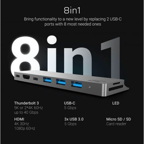 Green Cell Adapter HUB Connect60 8in1 (Thunderbolt 3, USB-C, HDMI, 3x USB 3.0) for Apple MacBook Air 2018, Pro 2016 and newer